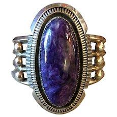 Stunning Navajo Charoite & Sterling Silver Cuff Bracelet