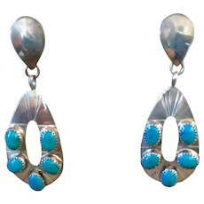 Vintage Southwest Turquoise Sterling Silver Earrings