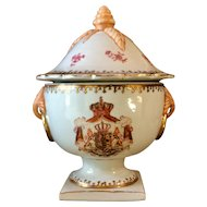 Antique French Hand Painted Armorial Covered Urn Samson Style Unsigned