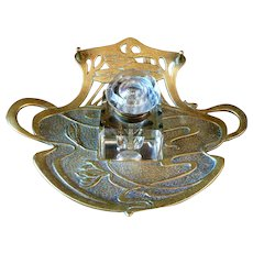 Geschutzt Bronze Art Nouveau Glass Ink Well Pen Tray