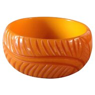 Vintage Carved Pumpkin Butterscotch Bakelite Leaf Bracelet