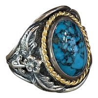 Vintage Navajo Sterling and 14K Gold Turquoise Ring signed JW Size 13