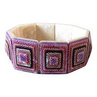 Purple Geometric Celluloid Lea Stein Paris Stretch Bracelet