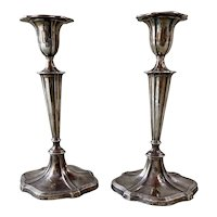 A Fine Pair of Sheffield England Sterling Silver Fluted Column Candlesticks