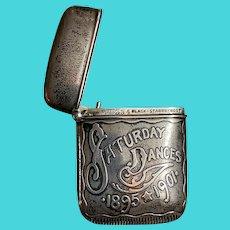 """Antique Sterling Silver Match Safe Vesta Black Starr & Frost """"Saturday Dances 1895-1905"""""""