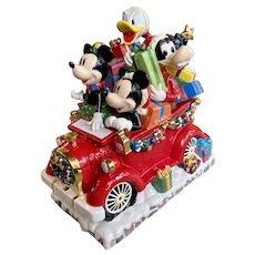 Very Rare Disney Chris Radko Micky Minnie Mouse Christmas Car Cookie Jar LE 500