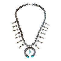 Vintage Navajo Sterling Silver Turquoise Squash Blossom Necklace Fluted Beads