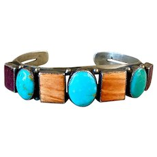 Vintage Sterling Navajo  Turquoise Spiny Oyster Cuff Bracelet Signed BJ