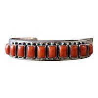 Paul Livingston Navajo Sterling Silver Red Mediterranean Coral Cuff Bracelet