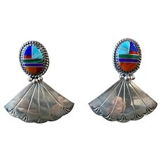 Vintage Zuni Sterling Silver Multi Stone Inlay Drop earrings
