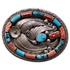 Vtg Navajo Sterling Silver Buckle Turquoise Coral Spiny Oyster Onyx Bobby Johnson