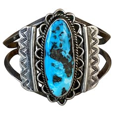 Old Pawn Native American Navajo Sterling Silver Morenci Turquoise Cuff Bracelet