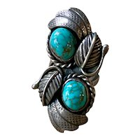 Vintage Navajo Sterling Silver Turquoise Ring Stan Slim