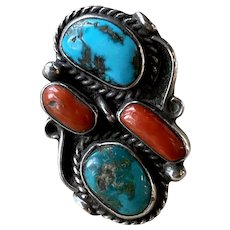 Stunning Vintage Navajo Signed Sterling Silver Mediterranean Coral & Turquoise RIng Sz 6.25