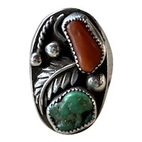 Large Old Pawn Navajo Sterling Silver Turquoise Coral Ring Size 11.5