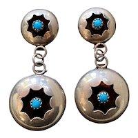 Navajo Sterling Silver Turquoise Shadowbox Pierced Drop Earrings