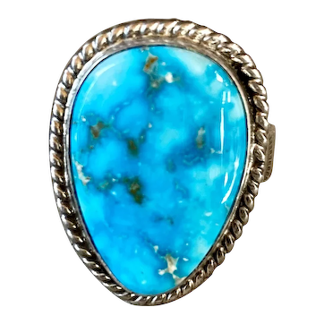 Phillip Sanchez Navajo Turquoise Sterling Silver Ring size 13