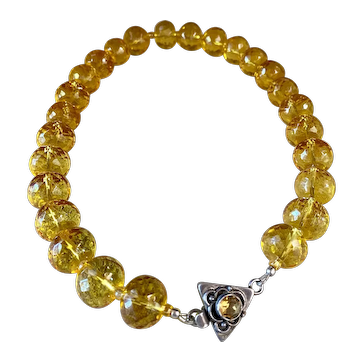 Dazzling Vintage  Citrine Faceted Bead Necklace with Sterling and Citrine Clasp