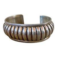 Native American Sterling Silver Modernist Cuff Bracelet by Emma Lincoln Navajo