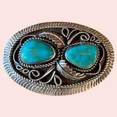Vintage Mexican Sterling Silver Turquoise Belt Buckle Signed SS Squash Blossom
