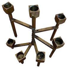 Mid Century Modern Brass Candle Holder Articulated 7 Arm