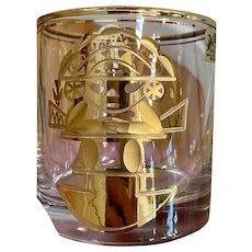 10 Vintage MCM 14k Gold Artesania Tabuisa Barware Rocks Glasses Aztec God