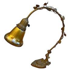 Antique Art Nouveau Floral Iron Table Lamp w/ Aurene Glass Shade