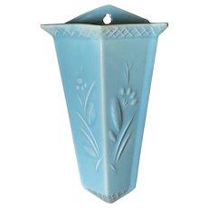 Vintage Art Deco Wall Pocket Vase Aqua Pottery