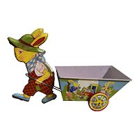 Vintage Chein Easter Bunny Rabbit Tin Litho Toy Cart