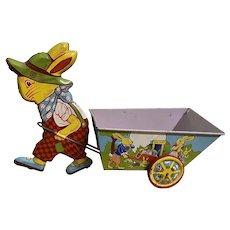 Vintage Chein Easter Bunny Rabbit Tin Litho Toy Cart