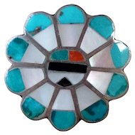 Vintage Zuni Inlaid Sterling Silver Turquoise Sun Face Ring Size 6