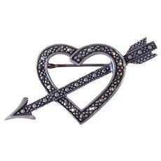 Vintage Sterling Silver Marcasite Heart Valentine Pin