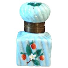 ON SALE**Antique French Porcelain Inkwell Hand Painted  Strawberries
