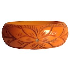Vintage Deep Carved Bakelite Bangle Rich Butterscotch Bracelet