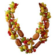 Vintage Fruit Salad Double Strand Wood and Plastic Necklace