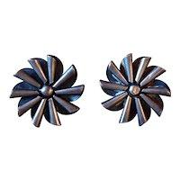 Sterling Silver Modernist 1950's Screw Back Earrings