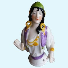 Antique, very rare Hungarian Gypsy half doll by Schneider