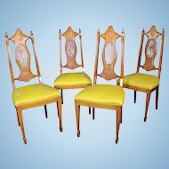 Mid Century Set 4 Four Carved Cane Side Dining Chairs
