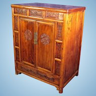 Early Chinese Carved Teak Cabinet Armoire Chest Wardrobe Asian