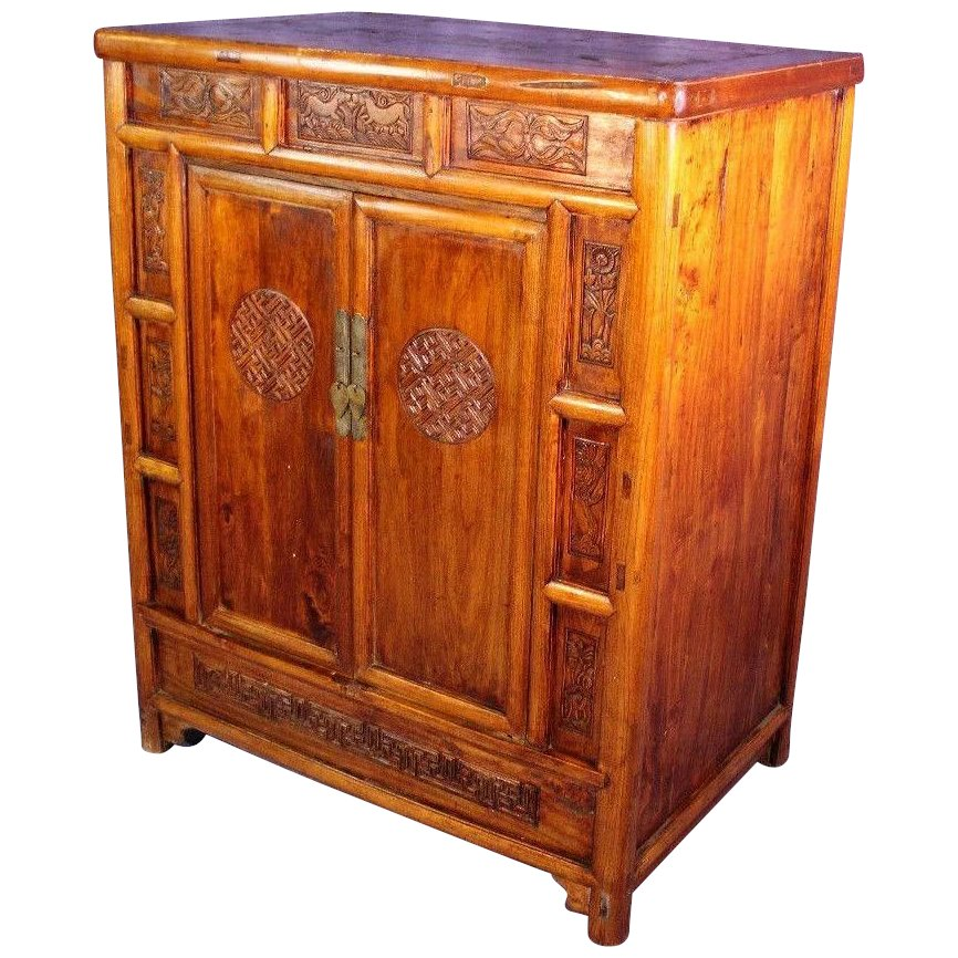 Carved Teak Magic Wardrobe.Early Chinese Carved Teak Cabinet Armoire Chest Wardrobe Asian