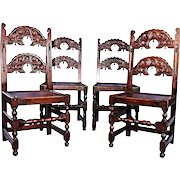 Antique Signed Four 4 Oak Side Dining Chairs