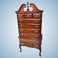 Henredon Mahogany Highboy Chest Dresser Cabinet Sideboard Cupboard Bed Vintage