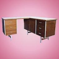 KNOLL Mid Century Executive L Shape Desk Secretary Writing Office Table Chest