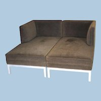 Pair 2 BROWN JORDAN Chaise Lounge Steel Sofa Bed Loveseat Settee Daybed Modern