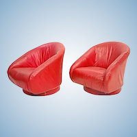 Pair 2 Red Leather Lounge Chairs Barrel Back Armchair Mid Century Modern Club