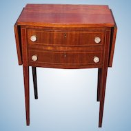 Antique 19th C Drop Leaf Mahogany End Table Side Glass Pulls Nightstand Server