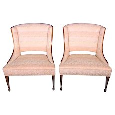 Pair 2 Large Modern Fruitwood Side Chairs Armchairs Accent Sofa Settee Loveseat