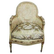 Antique Louis XVI Style Gilt Silk Down Pillow Bergere Chair Armchair