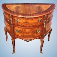 Louis XV Burl Wood Parquetry Commode Chest Console End Side Table Buffet French