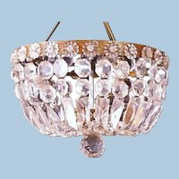 """12"""" Dome Form Brass Crystal Chandelier Ceiling Light Fixture Lamp Shade Modern"""